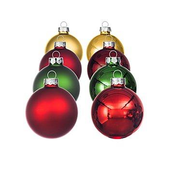 Weihnachtskugeln aus Glas, hellgold, dunkelrot, rot, grün, 6 cm Ø, 16 Stück