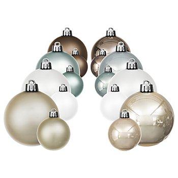 Boules de Noël en plastique, blanc hivernal/crème/bleu clair/marron, 4 cm et 6 cm Ø, 32 pièces