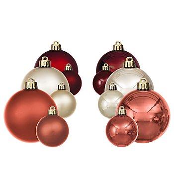 Weihnachtskugeln, creme, marsala, pink, 4 cm und 6 cm Ø, 24 Stück