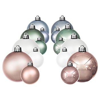 Weihnachtskugeln, weiß, hellgrün, hellblau, rosa, 4 cm und 6 cm Ø, 32 Stück