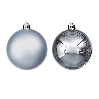 Weihnachtskugeln, stahlblau, 8 cm Ø, 8 Stück