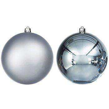 Weihnachtskugeln, stahlblau, 14 cm Ø, 2 Stück