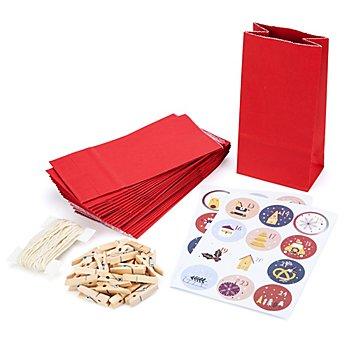 Adventskalendertüten-Set, rot-blau, 24 Stück