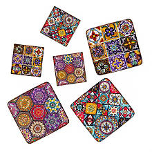 Mosaik-Fliesen, 4,8 x 4,8 cm und 3 x 3 cm, 6 Stück