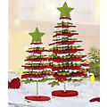 Filz-Tannenbäume-Bastelset, rot-weiß-grün, 2 Stück