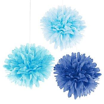 Papier-Pompoms, Blautöne, 3 Stück, 35 cm Ø