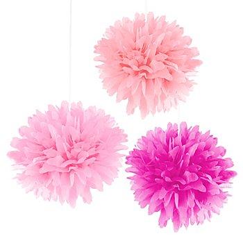 Papier-Pompoms, Rosatöne, 3 Stück, 35 cm Ø