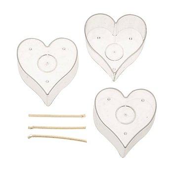 Teelicht-Kerzenform 'Herz', 3 Stück