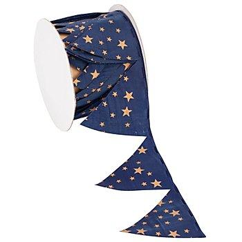 Stoffband Ziehstern, dunkelblau-kupfer , 5 cm, 2,5 m