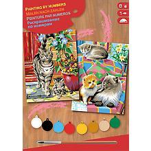 Malen nach Zahlen mit Acrylfarbe 'Katzen', 2 Motive