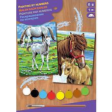 Malen nach Zahlen mit Acrylfarbe 'Pferde', 2 Motive