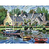 """Malen nach Zahlen mit Acrylfarben """"Boote am See"""", 39 x 30 cm"""