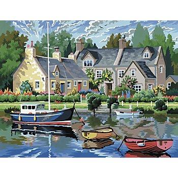 Malen nach Zahlen mit Acrylfarben 'Boote am See', 39 x 30 cm