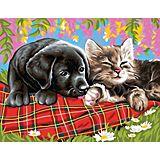 """Malen nach Zahlen mit Acrylfarben """"Hund und Katze"""", 39 x 30 cm"""