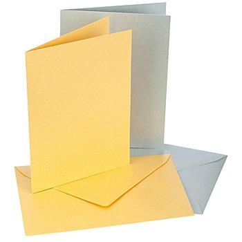 Doppelkarten & Hüllen, gold-silber, A6, je 10 Stück