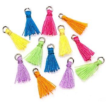 Set de mini-pompons glands, multicolore, 12 mm, 12 pièces
