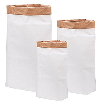 Papiersäcke-Set, weiß-braun, 3 Stück