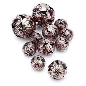 Boules métalliques 'Marrakech', cuivre, 2,5 cm, 3 cm et 5 cm Ø, 11 pièces