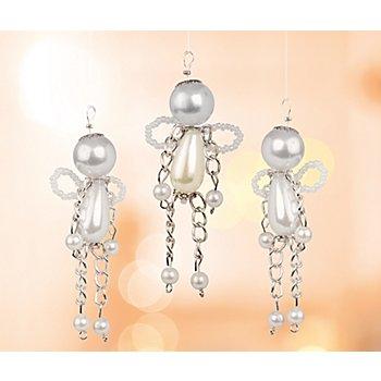 Perlenbastel-Set 'Engel', silber-weiss