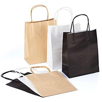Set de sachets en papier, marron/noir/blanc, 24,5 x 19 cm, 6 pièces