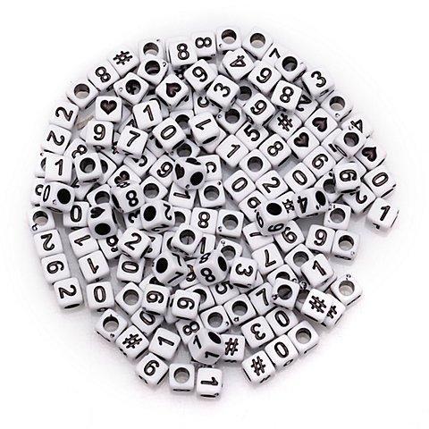 Image of Zahlenwürfel, weiss-schwarz, 6 mm, 160 Stück