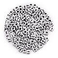 Perles cubes avec chiffres, blanc/noir, 160 pièces