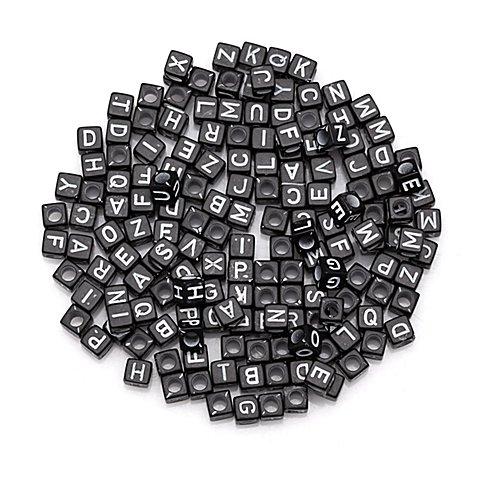 Image of Buchstabenwürfel, schwarz-weiss, 6 mm, 160 Stück
