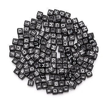 Buchstabenwürfel, schwarz-weiß, 6 mm, 160 Stück