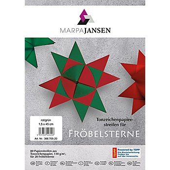 Set de bandes de papier pour étoiles Fröbel, rouge/vert, 80 bandes