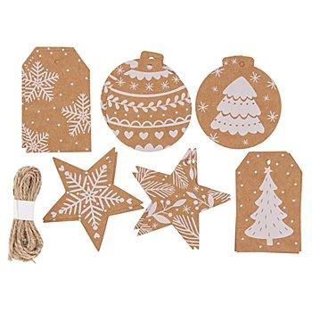 Folia Kraftpapier-Anhänger 'Weihnachten', braun, 3,5 - 7 cm, 12 Stück