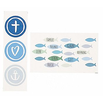 Wachsbilder 'Fische und Symbole' blau/grün