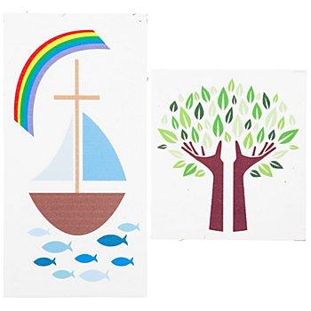Wachsbild 'Boot und Baum', 2 Stück