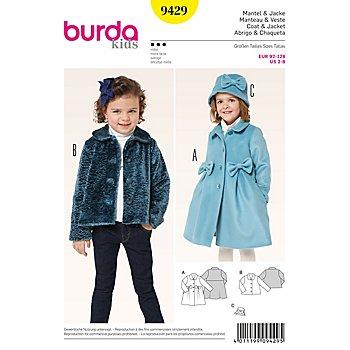burda Schnitt 9429 'Mantel/Jacke' für Kinder
