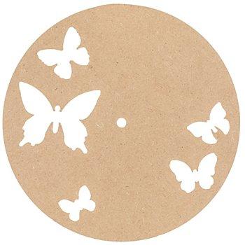 Support horloge en MDF 'papillon', 25 cm Ø