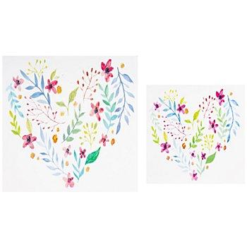 Motifs en cire 'cœur en fleurs', 2 pièces