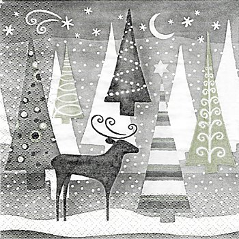 Serviettes en papier 'forêt hivernale', 33 x 33 cm, 20 pièces