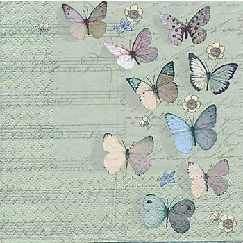 Serviettes en papier 'papillons avec notes', 33 x 33 cm, 20 pièces