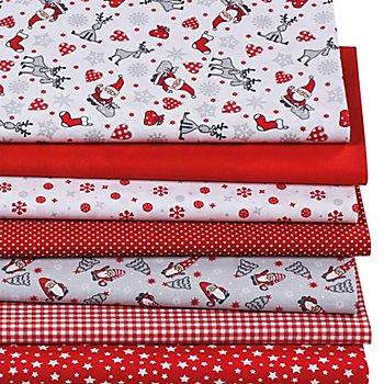 Patchwork- und Quiltpaket 'Weihnachten', rot/weiß
