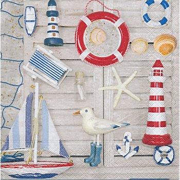 Papierserviette 'Strand', 33 x 33 cm, 20 Stück