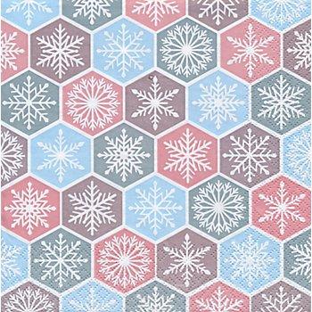 Serviettes en papier 'flocons de neige', 33 x 33 cm, 20 pièces