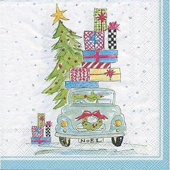 Serviettes en papier 'voiture du Père Noël', 33 x 33 cm, 20 pièces