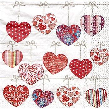 Serviettes en papier 'cœurs sur corde', 33 x 33 cm, 20 pièces