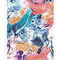 """Set de papier Décopatch """"marbré"""", bleu/orange, 39 x 30 cm, 3 feuilles"""