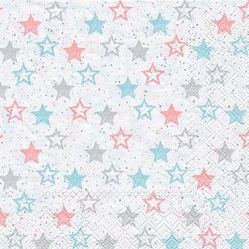 Serviettes en papier 'étoiles turquoise/rose', 33 x 33 cm, 20 pièces
