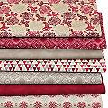 """Lot de 7 coupons de tissu patchwork """"Orient"""", taupe/rouge"""