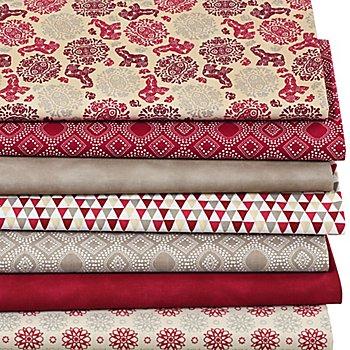 Lot de 7 coupons de tissu patchwork 'Orient', taupe/rouge