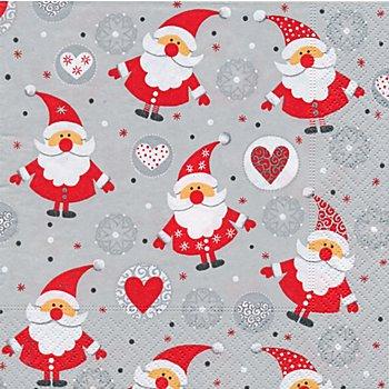 Papierserviette 'Weihnachtsmänner', 33 x 33 cm, 20 Stück