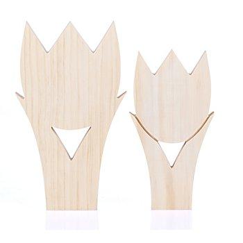 Tulpen aus Holz, 27,5 cm und 23,5 cm, 2 Stück