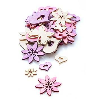 Streuteile 'Frühjahr', lila und weiß, 36 Stück