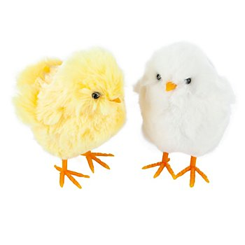 Poussins, blanc et jaune, 9 cm, 2 pièces